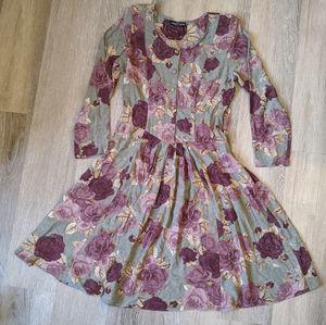 Vintage Carole Little Long Sleeve Floral Dress